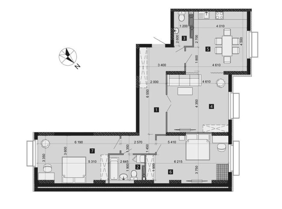 Планировка 3-комнатной квартиры в ЖК Liko-Grad Perfect Town 106.69 м², фото 214958