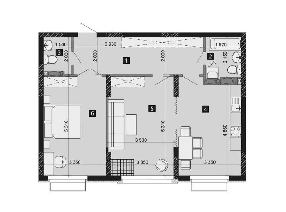 Планировка 2-комнатной квартиры в ЖК Liko-Grad Perfect Town 73.46 м², фото 214960