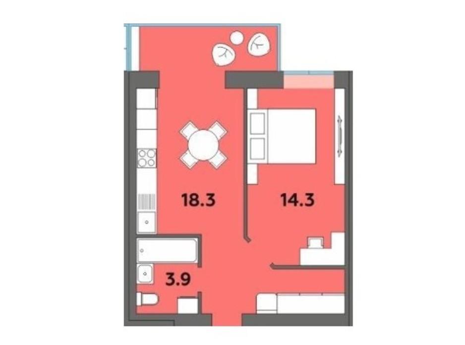 Планировка 1-комнатной квартиры в ЖК Orange City 42.7 м², фото 215011
