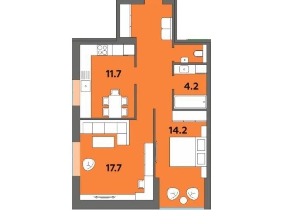 Планировка 2-комнатной квартиры в ЖК Orange City 61.3 м², фото 215015