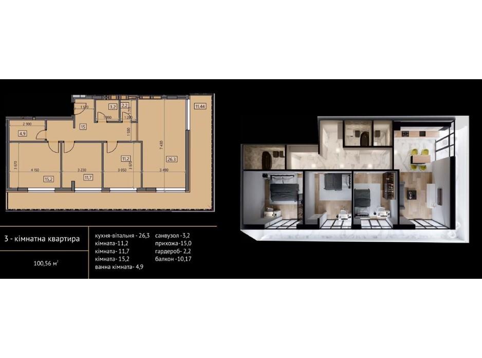 Планировка 3-комнатной квартиры в ЖК Crystal 100.56 м², фото 215490