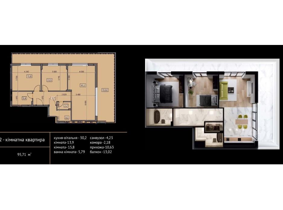 Планировка 2-комнатной квартиры в ЖК Crystal 95.73 м², фото 215491