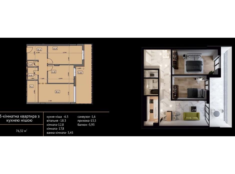 Планировка 2-комнатной квартиры в ЖК Crystal 77.04 м², фото 215493
