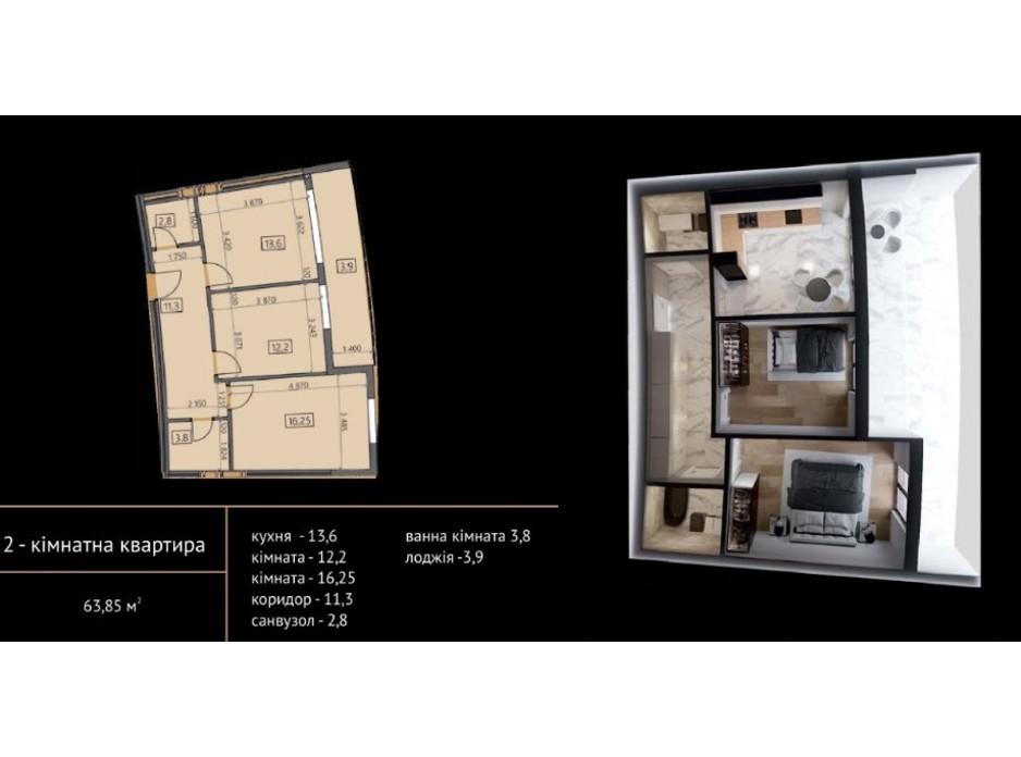 Планировка 2-комнатной квартиры в ЖК Crystal 64.52 м², фото 215498