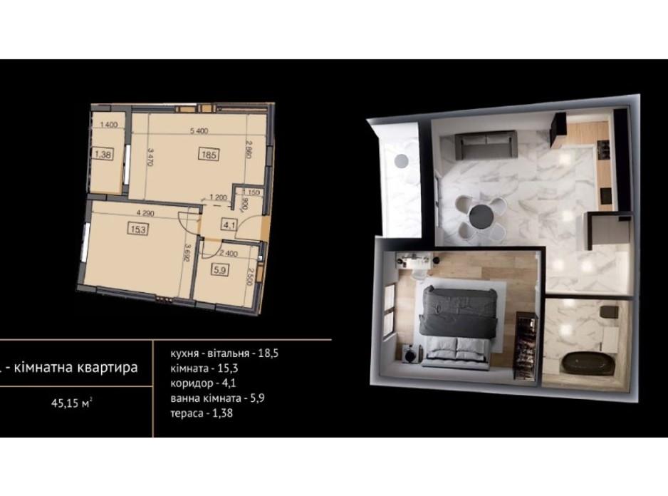 Планировка 1-комнатной квартиры в ЖК Crystal 45.87 м², фото 215499