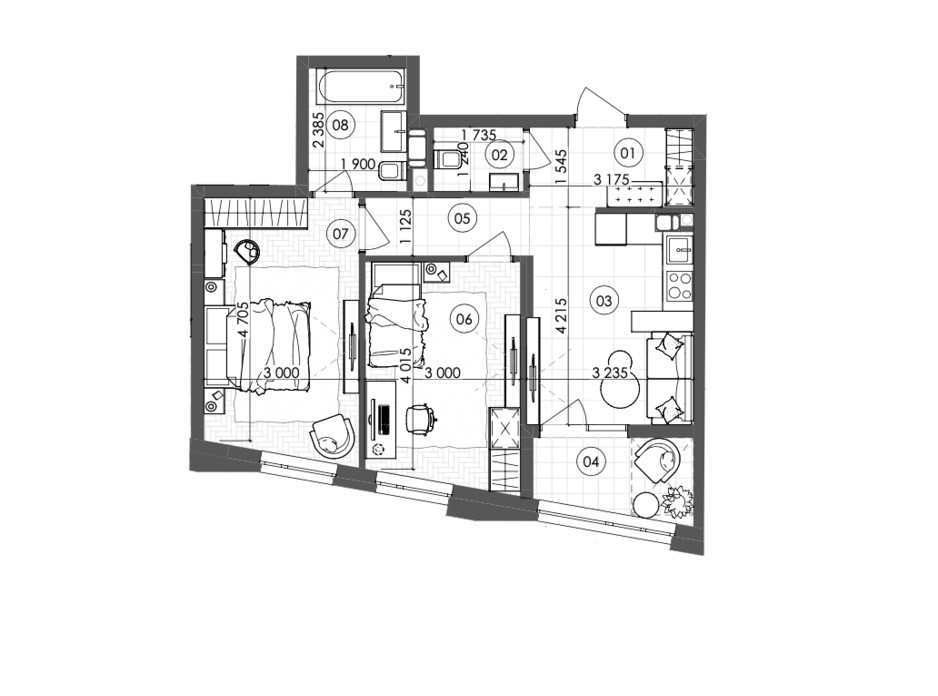 Планировка 2-комнатной квартиры в ЖК Krauss Gallery 60.35 м², фото 215720