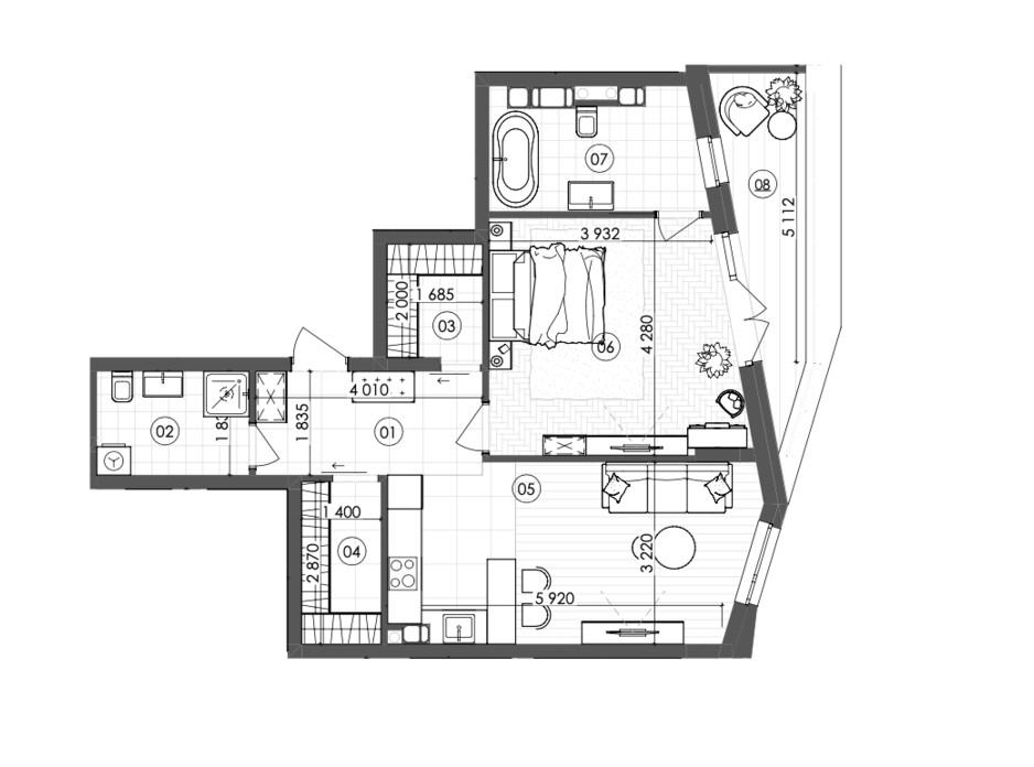 Планування 1-кімнатної квартири в ЖК Krauss Gallery 67 м², фото 215721