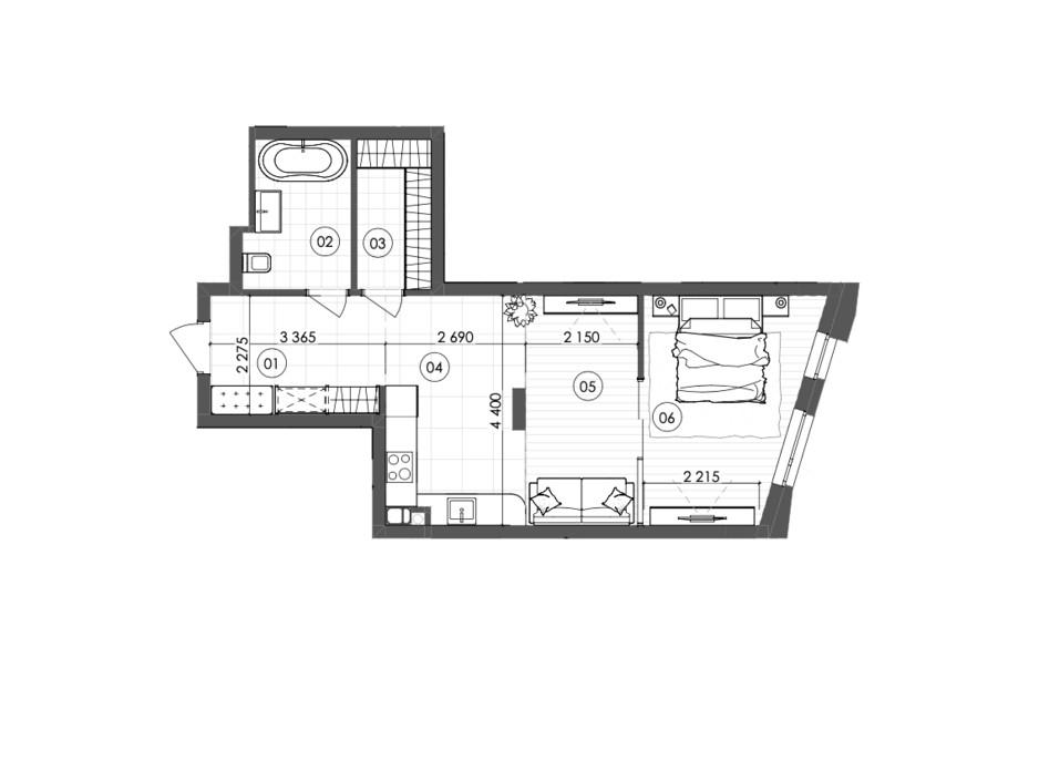 Планування 1-кімнатної квартири в ЖК Krauss Gallery 50.61 м², фото 215722
