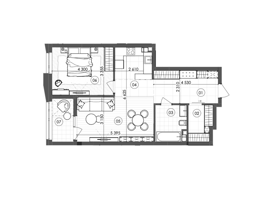 Планировка 1-комнатной квартиры в ЖК Krauss Gallery 64.86 м², фото 215723