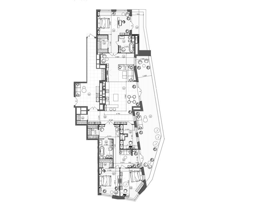 Планировка 3-комнатной квартиры в ЖК Krauss Gallery 229.82 м², фото 215724