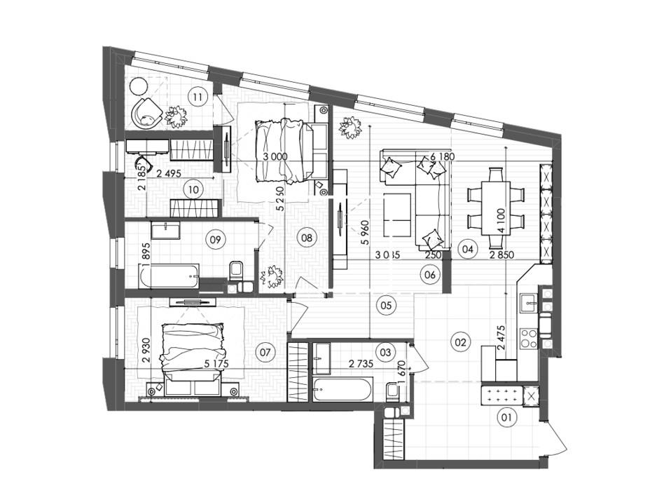 Планування 2-кімнатної квартири в ЖК Krauss Gallery 99.84 м², фото 215725