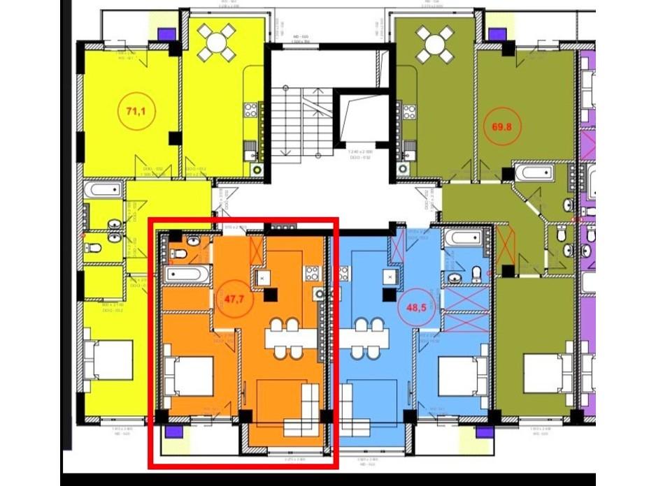 Планировка 1-комнатной квартиры в ЖК Park Residence 46.7 м², фото 215928