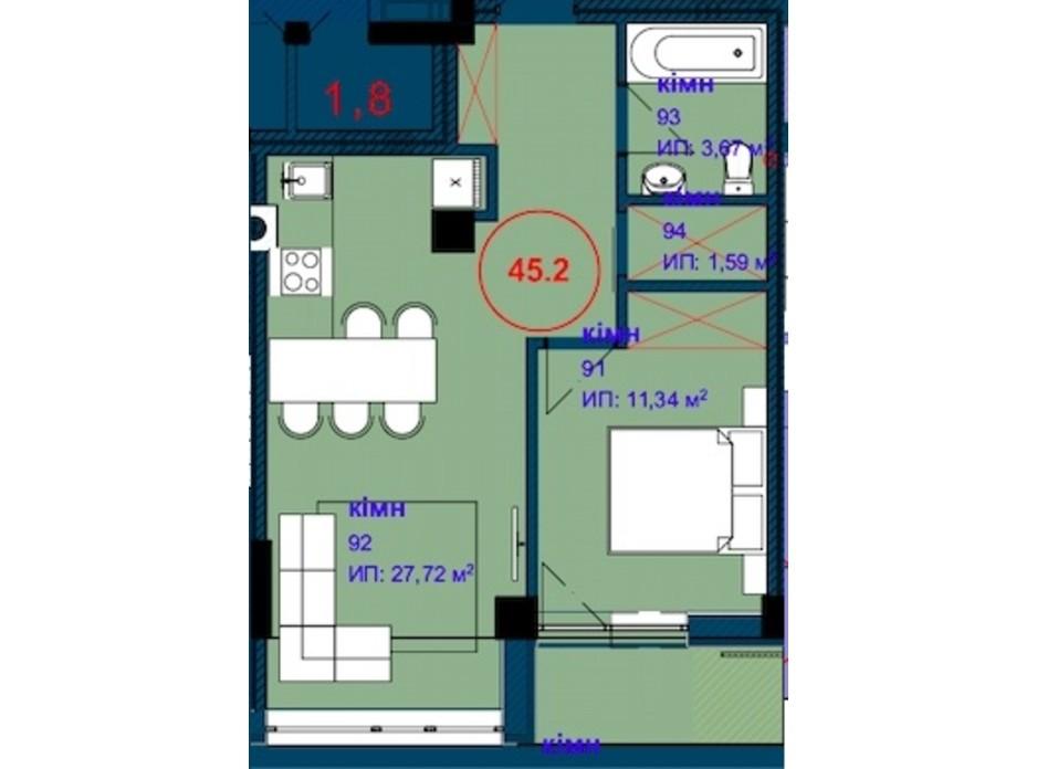 Планировка 1-комнатной квартиры в ЖК Park Residence 45.1 м², фото 215930