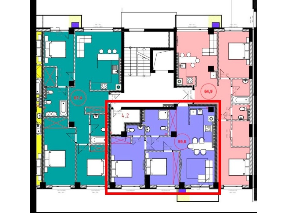 Планировка 2-комнатной квартиры в ЖК Park Residence 59.8 м², фото 215931