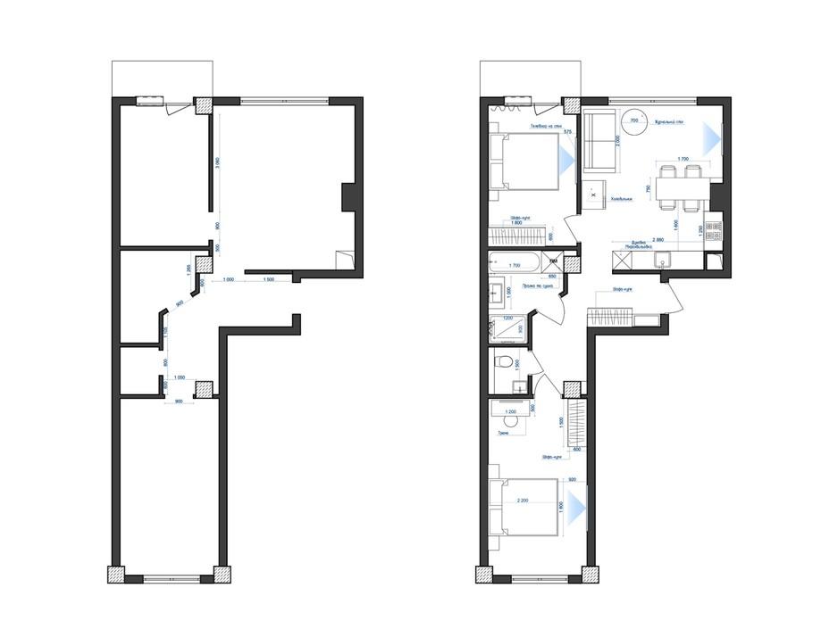 Планировка 2-комнатной квартиры в ЖК Park Residence 66.9 м², фото 215934