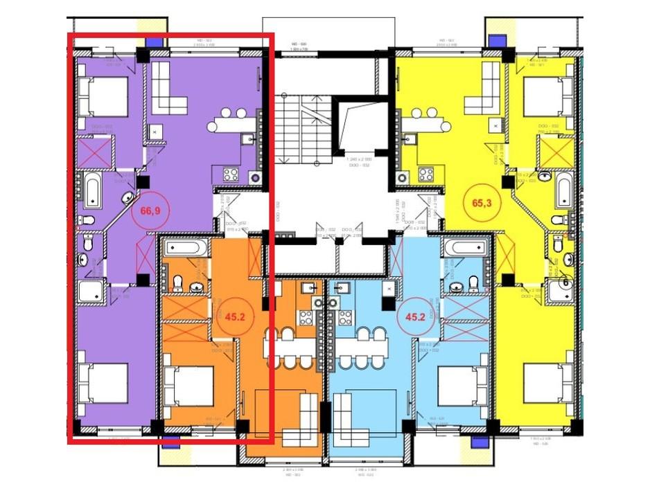 Планировка 2-комнатной квартиры в ЖК Park Residence 66.9 м², фото 215935