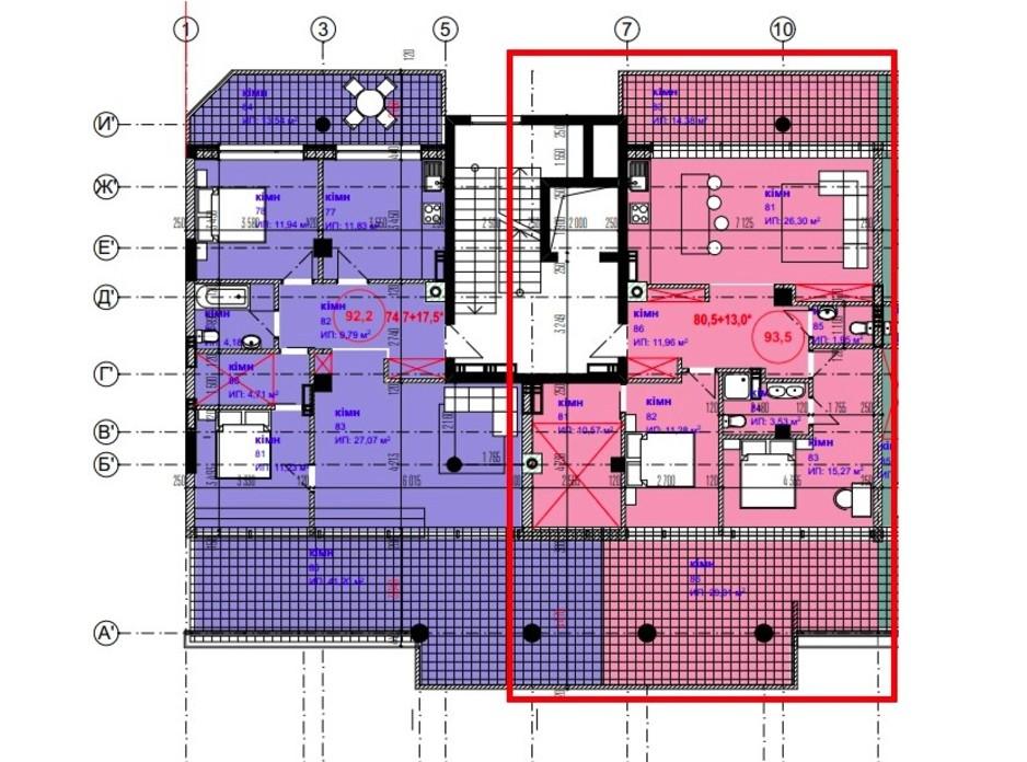 Планировка 3-комнатной квартиры в ЖК Park Residence 93.5 м², фото 215939