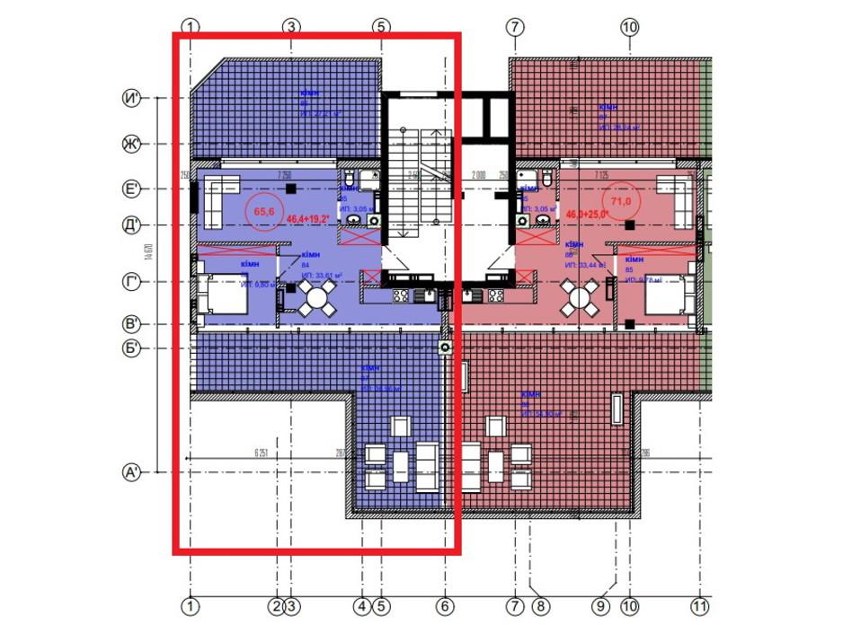 Планировка 1-комнатной квартиры в ЖК Park Residence 65.6 м², фото 215941