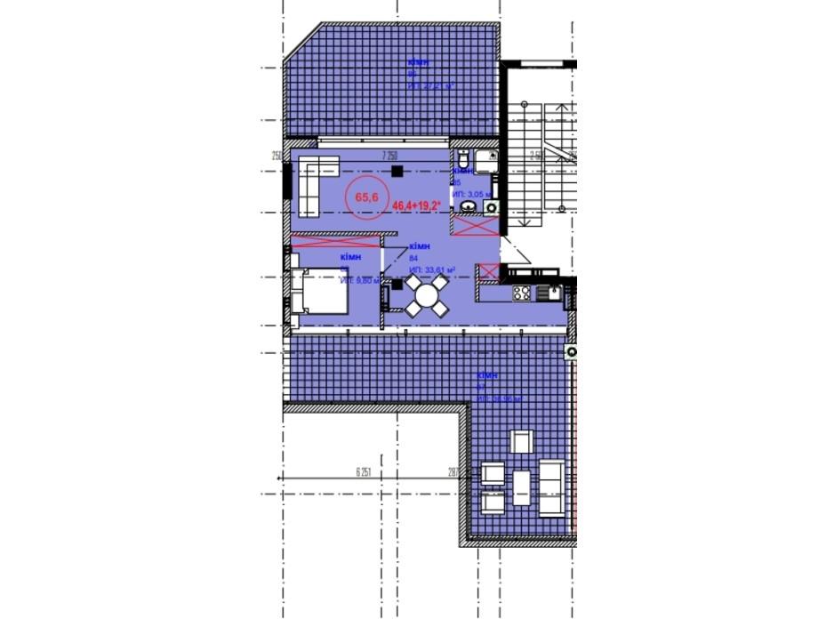 Планировка 1-комнатной квартиры в ЖК Park Residence 65.6 м², фото 215942
