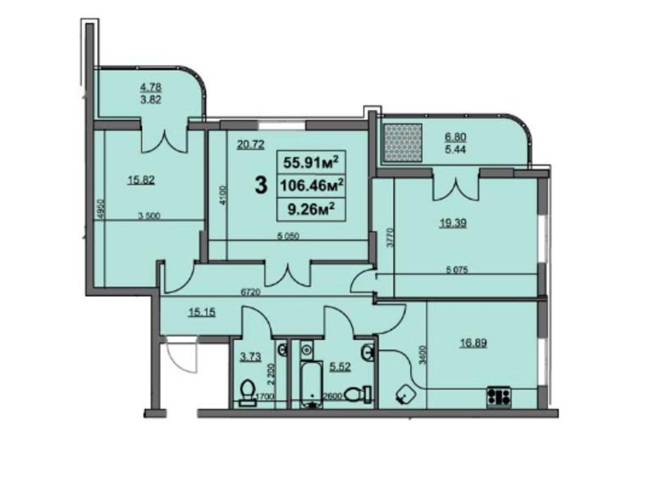 Планировка 3-комнатной квартиры в ЖК ул. Припортовая, 22/1 106.02 м², фото 216252