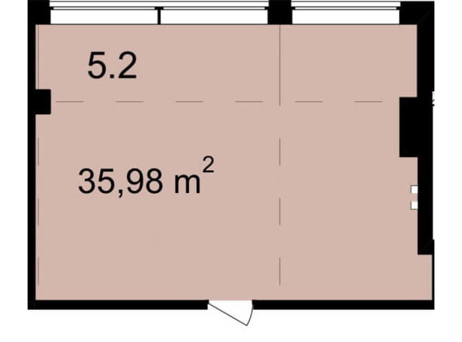 Планування приміщення в Бізнес Центр Q-5  Quoroom Office Metropol 35.98 м², фото 216467