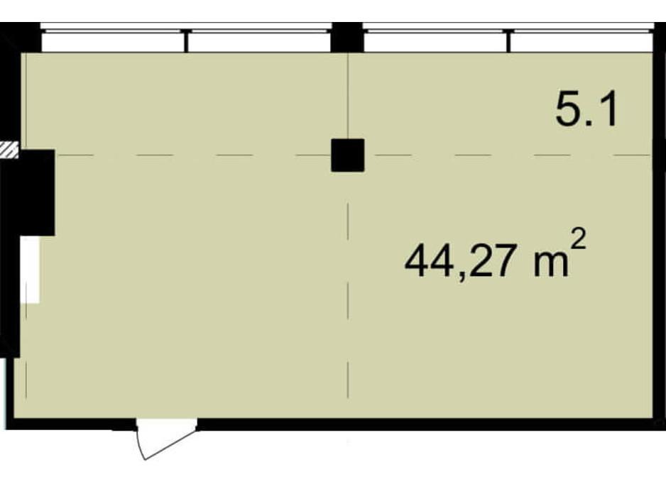 Планировка помещения в Бизнес Центр Q-5  Quoroom Office Metropol 44.27 м², фото 216471