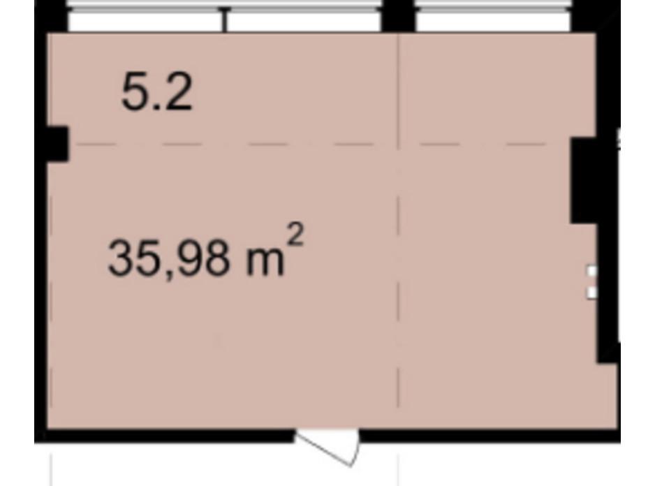 Планировка помещения в Бизнес Центр Q-5  Quoroom Office Metropol 35.98 м², фото 216476