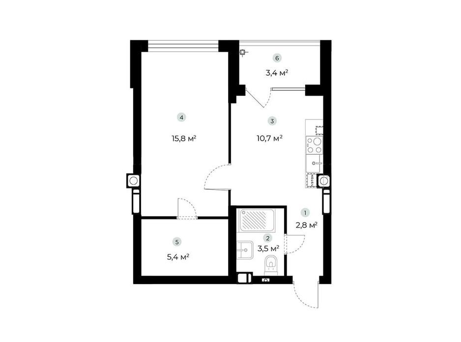 Планування 1-кімнатної квартири в ЖК Parktown 46.5 м², фото 216542