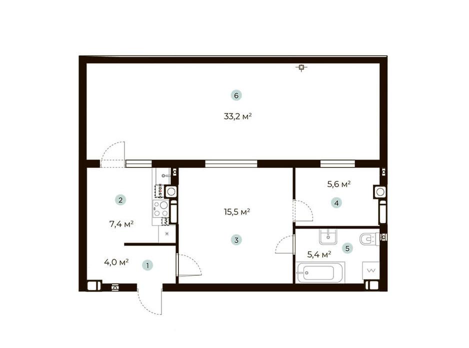 Планування 1-кімнатної квартири в ЖК Parktown 47.9 м², фото 216543