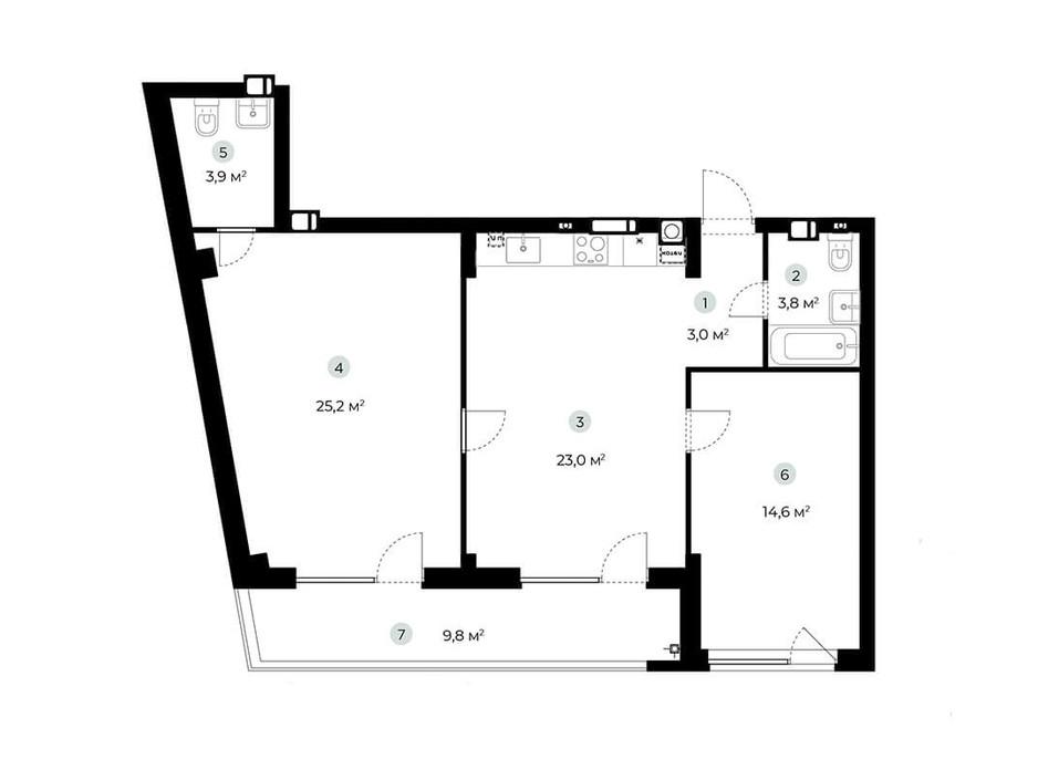 Планування 2-кімнатної квартири в ЖК Parktown 78.4 м², фото 216544