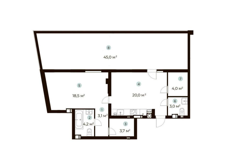 Планування 1-кімнатної квартири в ЖК Parktown 70 м², фото 216552
