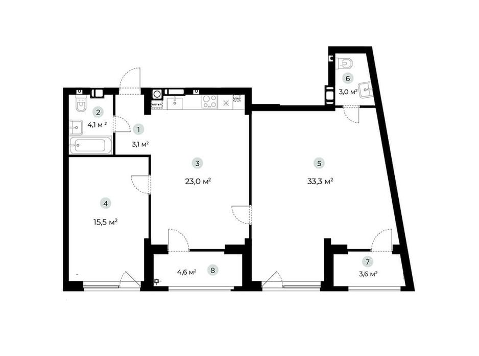 Планування 2-кімнатної квартири в ЖК Parktown 86.1 м², фото 216555