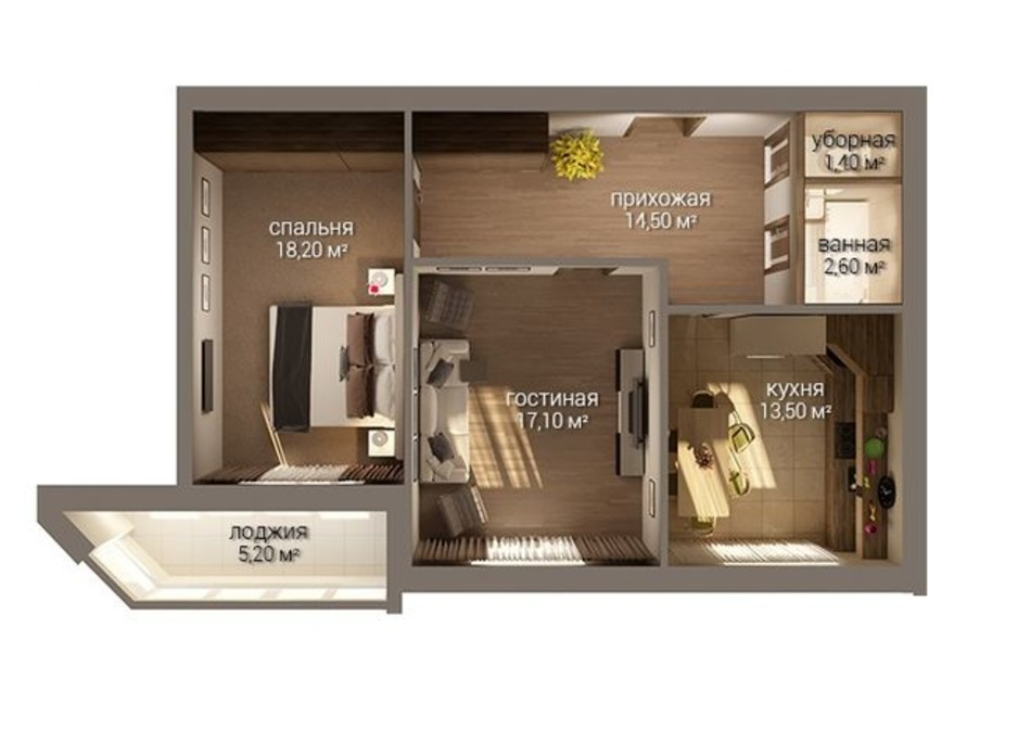 Планировка 2-комнатной квартиры в ЖК Уютный 72.3 м², фото 216575