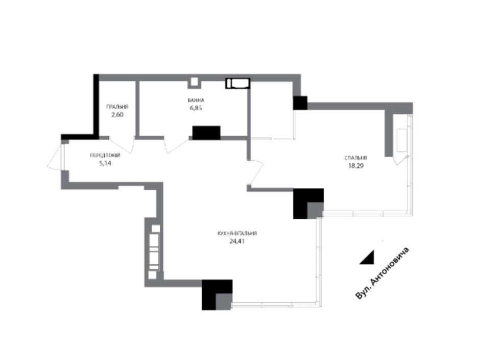 Планировка 1-комнатной квартиры в ЖК A136 highlight tower 57.92 м², фото 216668