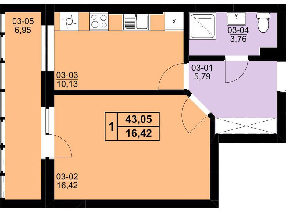 Планування 1-кімнатної квартири в ЖК Resident Hall 40.24 м², фото 216672