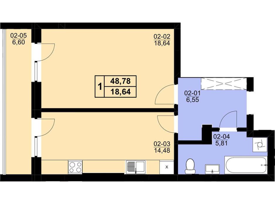 Планування 1-кімнатної квартири в ЖК Resident Hall 48.78 м², фото 216673