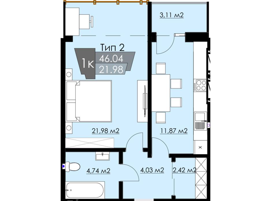 Планування 1-кімнатної квартири в ЖК Resident Hall 46.04 м², фото 216681