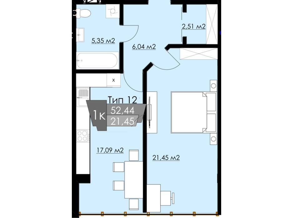 Планування 1-кімнатної квартири в ЖК Resident Hall 50.42 м², фото 216702