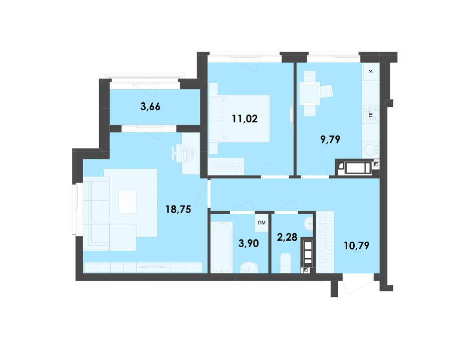Планировка 2-комнатной квартиры в ЖК River City 60.19 м², фото 217000