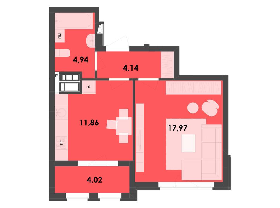 Планировка 1-комнатной квартиры в ЖК River City 42.93 м², фото 217001
