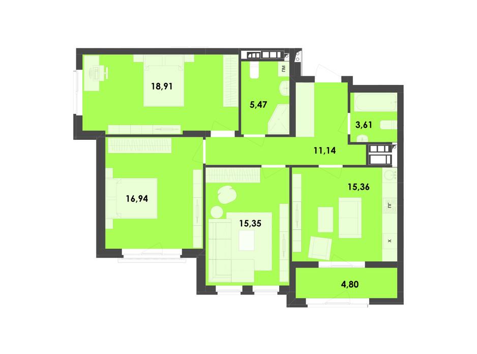 Планировка 3-комнатной квартиры в ЖК River City 91.58 м², фото 217004