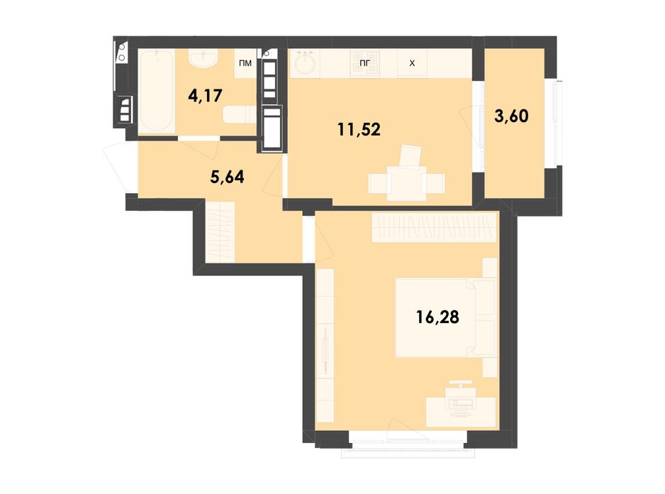 Планування 1-кімнатної квартири в ЖК River City 41.21 м², фото 217013