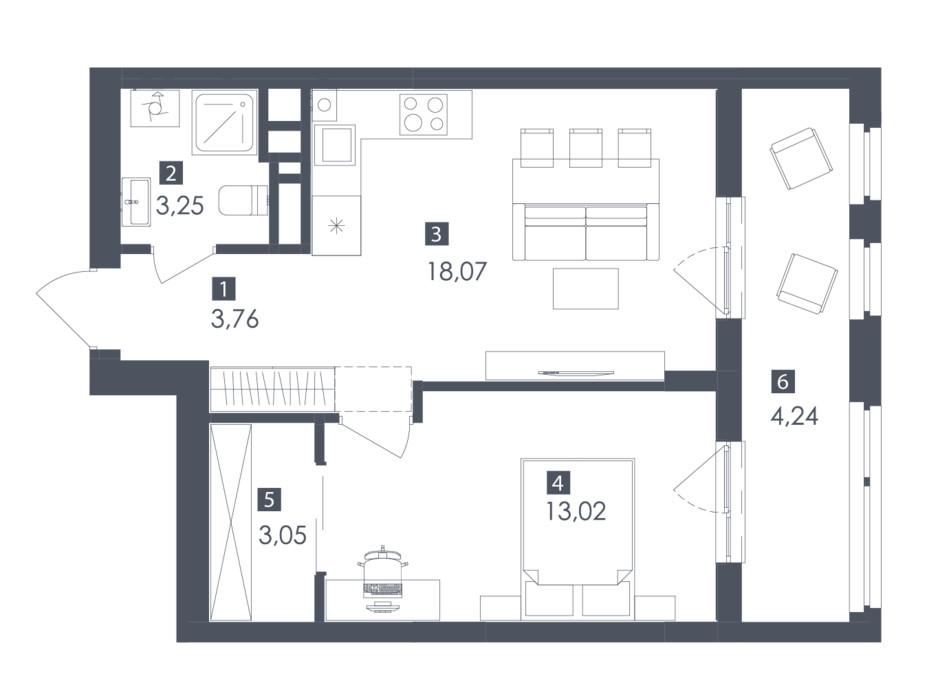 Планування 1-кімнатної квартири в ЖК Safe Town 45.4 м², фото 217153