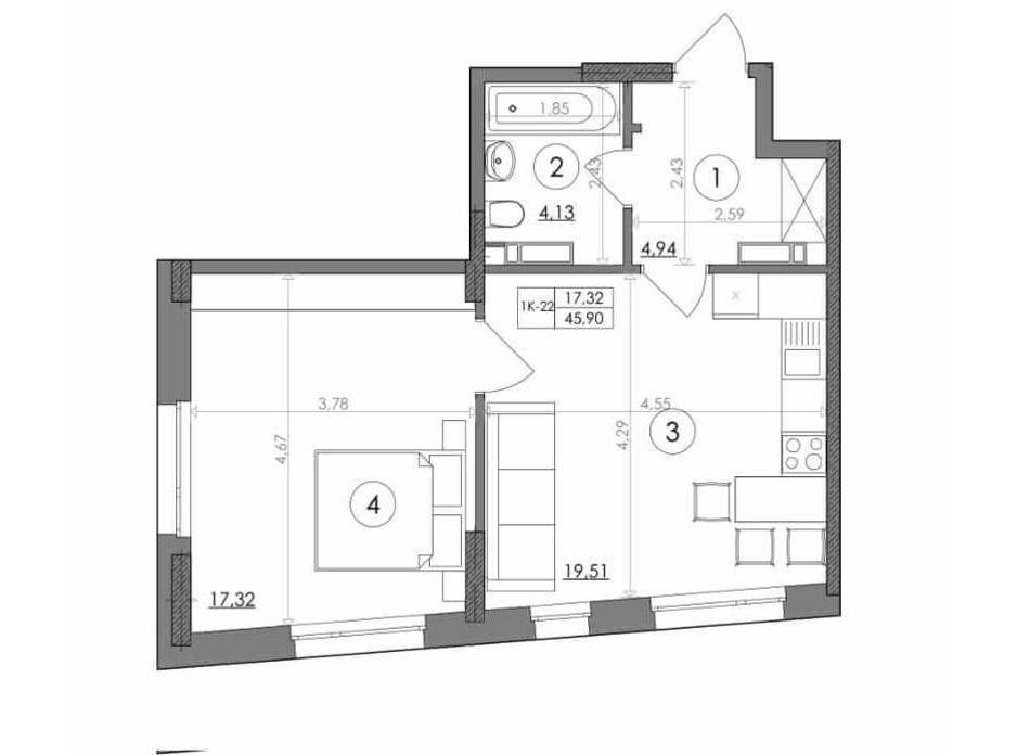 Планування 1-кімнатної квартири в ЖК Svitlo Park 45.9 м², фото 217374