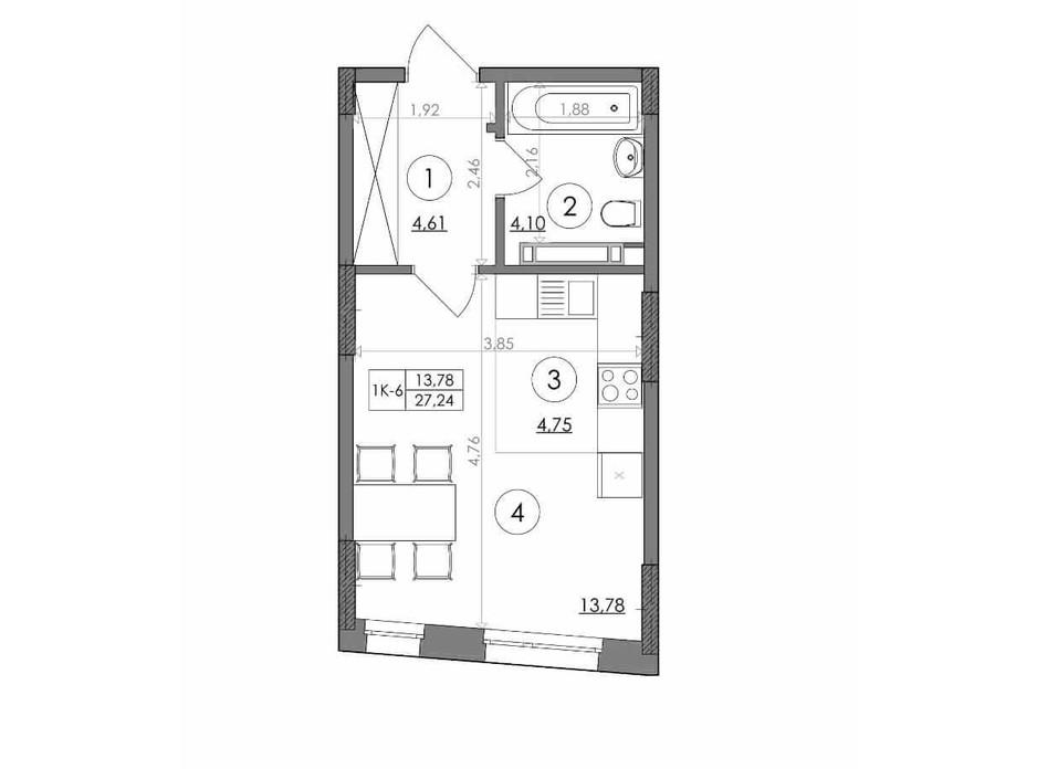 Планування квартири студії в ЖК Svitlo Park 27.24 м², фото 217382