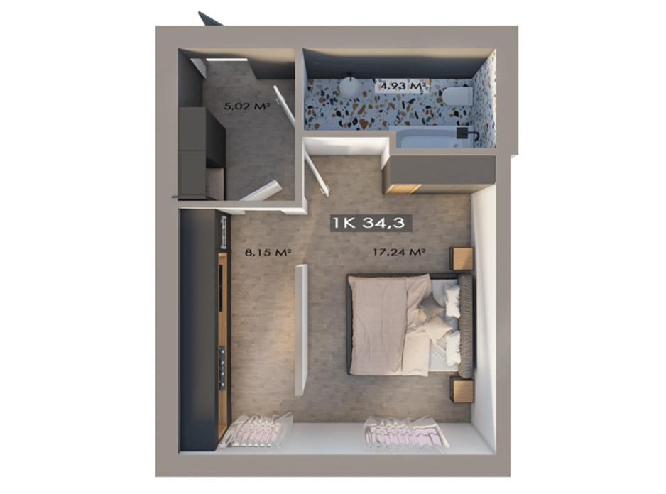 Планировка 1-комнатной квартиры в ЖК Клубный городок 12 34.3 м², фото 217388