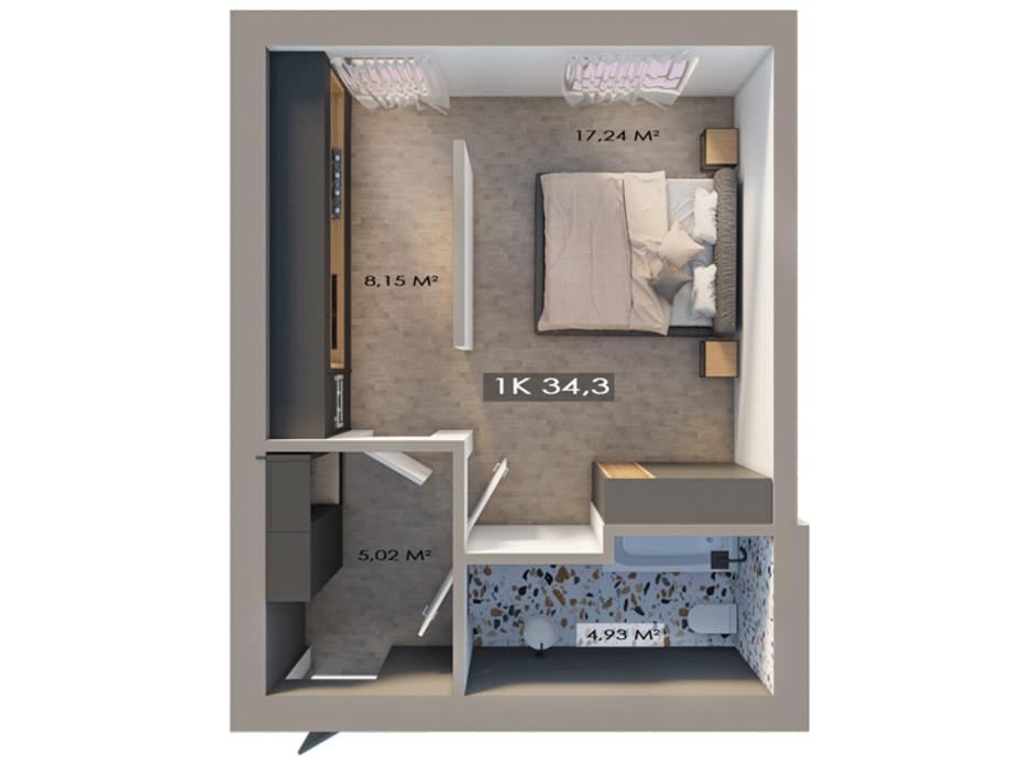 Планировка 1-комнатной квартиры в ЖК Клубный городок 12 34.3 м², фото 217392