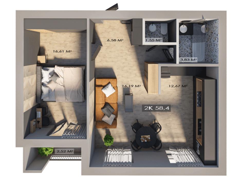 Планировка 2-комнатной квартиры в ЖК Клубный городок 12 58.4 м², фото 217393
