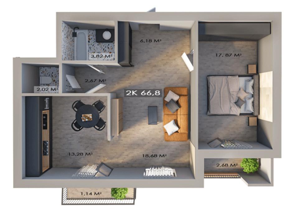 Планировка 2-комнатной квартиры в ЖК Клубный городок 12 66.8 м², фото 217400