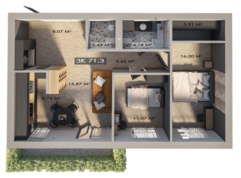Планування 3-кімнатної квартири в ЖК Клубне містечко 12 71.3 м², фото 217401